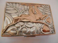 Art Deco Evans Mixed Metals Deer Compact  1930