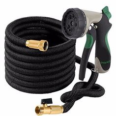 Ovareo Garden Hose 50 Feet + Heavy Duty Spray Nozzle with 8 Functions Flexible and Expandable Water Hose with Triple Latex Core Solid Brass Fittings Strong Material to Insure No Leak Kink Free Home Design Diy, Small House Design, Love Garden, Water Garden, Garden Hose Holder, Water Hose, Brass Fittings, Home Landscaping, Solid Brass