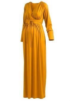 Mocha Cowl Neck Long Sleeve Maternity Maxi Dress | Sleeve, Maxi ...