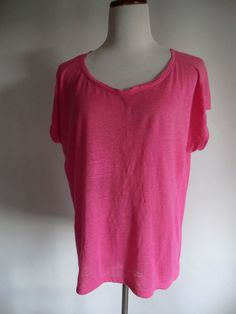 NWOT EILEEN FISHER Size SMALL FUCHSIA 100% LINEN LAGENLOOK LOOSE FIT TOP  #EileenFisher #Lagenlook #Any
