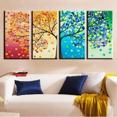 Cool Tree of life wall decor stickers with sofa and pillow - wall decor, tree sticker - LoveItSoMuch.com