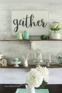 "Like the ""Gather"" sign on a shelf - Pretty farmhouse dining room shelves, click through to see how easily the room came together. Step by step how to create this look! DIY farmhouse shelves using stain + paint! Kitchen Decorating, Gather Wood Sign, Dining Room Shelves, Dining Rooms, Diy Spring, Wall Decor, Room Decor, Diy Wall, Wall Art"