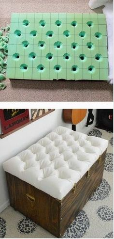 Hardest Button to Button: A DIY Tufted Storage Ottoman. Tutorial for how to create a button tufted ottoman. Love the Antico Allover stenciled rug. Tutorial for how to create a button tufted ottoman. Love the Antico Allover stenciled rug.