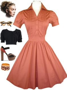 0b9589463eb Rust 50s Style Pin Tuck Detailed Bodice Puff Sleeve Pinup Day Dress w Full  Skirt