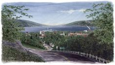 Finger Lakes Watercolor Paintings - Linda McIntyre was a classmate of my husband's through high school and they grew up in the same town in upstate NY. Watkins Glen. A beautiful framed copy of this work hangs in our house along with another of her smaller works. I love the detail of her wonderful watercolors. This one is coming into Watkins Glen from the south side of Lake Seneca.