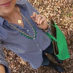 Green & gingham is the perfect winter to spring look! #stelladotstyle