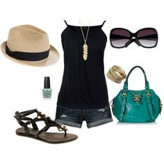 Super fun summer outfit! Sexy black and Teal for the pop! Makes me long for warmer weathers and I wold love to buy all the things here! Even the hat is fun!