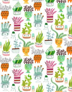 Plant Heads - Sarah Walsh My fave! Textile Prints, Textile Patterns, Textiles, Tangle Patterns, Art Prints, Plant Illustration, Pattern Illustration, Surface Pattern Design, Pattern Art