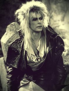 "David Bowie as Jareth the Goblin King in ""Labyrinth"" Rest in peace your Majesty. (1947-2016) :,("