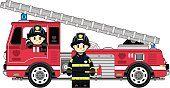 Fireman y camión de bomberos