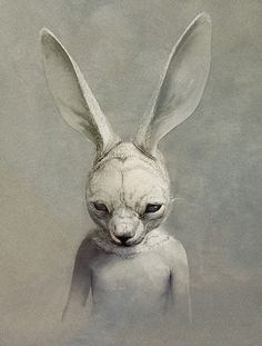 Illustration by Ryohei-Hase. ♣ Tags: #creepy #rabbit #painting