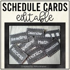 EDITABLE chalkboard style schedule cards to show the daily classroom schedule Classroom Schedule, Classroom Setup, Classroom Organization, Fun Learning, Learning Activities, 1st Grade Activities, Schedule Cards, First Grade Classroom, School Days