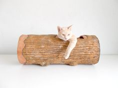 Cat Tunnel  Large Hideout Log by SAYSCULPTURES on Etsy, $149.00