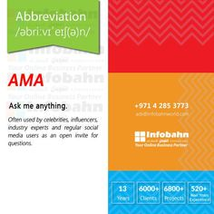 AMA – Ask me anything. Often used by celebrities, influencers, industry experts and regular social media users as an open invite for questions.  #infobahnconsultancy #infobahn #ibc #seo #searchengineoptimization #digitalmarketing #godigital #digitalmarketingspecialist #onlinemarketing #socialmediaexperts #socialmedia #socialmediamarketing #website #websitecompany #webdesign #itcompany