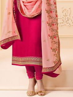 Crimson Pink Designer Embroidered Crepe Churidar Suit – Saira's Boutique Pakistani Dresses, Indian Dresses, Designer Party Wear Dresses, Churidar Suits, Pink Fabric, Silk Crepe, Kurti, Jazz, Ready To Wear