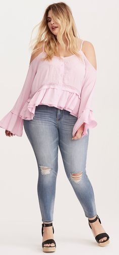 Plus Size Cold Shoulder Ruffle Top