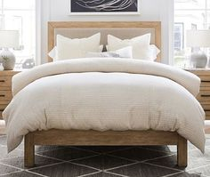 These beds are so gorgeous you'll want to make your whole bedroom French! 14 French wooden and upholstered beds for you to choose from in this well posted article. Bedding Master Bedroom, Home Decor Bedroom, Home Living Room, Bedroom Furniture, Wooden Furniture, Bedroom Ideas, Wood And Upholstered Bed, Scandinavian Interior Bedroom, Outdoor Furniture Plans