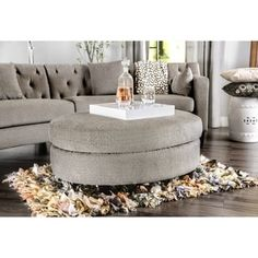 Furniture of America Aretha Contemporary Grey Oval Ottoman (As Is Item) (Warm Grey) Narrow Living Room, Living Room Modern, Home Living Room, Shabby Chic Furniture, Living Room Furniture, Furniture Sets, Furniture Outlet, Online Furniture, Oval Ottoman