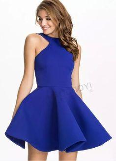 Royal Blue Halter Skater Dress