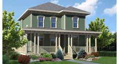 Camden House Plan. A modest, four square style cottage with an open layout. Add a little craftsman character to the front porch, and voila! An 1888 sq foot house with a small, square footprint.