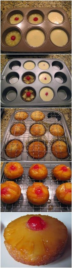 Mini Pineapple Upside Down Cakes. Brown sugar topping with pineapples and cake. They are delicious and quite easy to make. (easy desserts to make mom) Yummy Treats, Sweet Treats, Yummy Food, Mini Pineapple Upside Down Cakes, Sweet Recipes, Cake Recipes, Cookies, Food Cakes, Baking Cakes