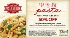Here's a delicious offer for you to redeem and share: Take 50% off your choice of up to 22 delicious pasta dishes at Bravo Cucina Italiana throughout October. #PastaMonthAtBravoItaliana http://www.bravoitalian.com