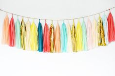 Cotton Candy Tissue Tassel Garland Pastel Photo Prop by GenWoo