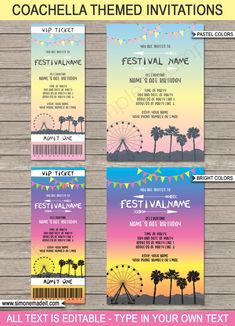 New Coachella Themed Birthday Party Printables Coachella Birthday Party Invitations Coachella Party Decorations, Coachella Party Theme, Coachella Birthday, Festival Coachella, Festival Themed Party, Music Themed Parties, Cochella Theme Party, 18th Party Ideas, Colorful Birds