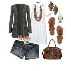 I want no shorts, just a nice length dress with the light sweater and accessories.
