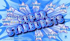 Super Starbursts soccer banner idea from AllStarBanners.com We do soccer banners, baseball banners, softball banners, football banners and team banners for any sport.