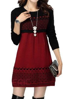 Wine Red and Black  Argyle Pattern Long Sleeve Sweater Dress on sale only US$25.90 now…