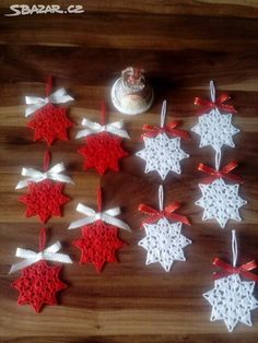 Set of 4 White Crochet Snowflakes, Christmas Snowflakes, Tree Ornaments, Home Decor Crochet Christmas Decorations, Crochet Christmas Ornaments, Crochet Decoration, Christmas Crochet Patterns, Holiday Crochet, Christmas Angels, Christmas Snowflakes, Christmas Knitting, Crochet Snowflake Pattern
