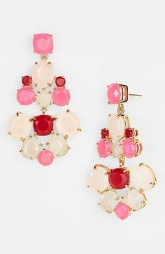 Dramatic chandelier earrings boast bright, eye-catching shine. Color(s): blush multi/ rose gold, clear/ gold, clear/ silver, flo pink multi/ gold, glttr/gld, tortoise/ citron multi/ gold. Brand: kate spade new york. Style Name: kate spade new york chandelier earrings. Style Number: 938318. $98.00 by nordstrom