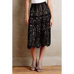 KAS New York Delony Lace Skirt ($198) via Polyvore featuring skirts, petite, petite a line skirt, knee length lace skirt, black knee length skirt, petite midi skirt and mid calf black skirt