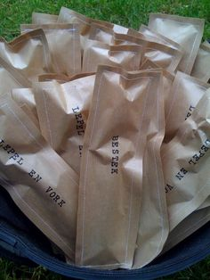 Cutlery sewed in a paper bag