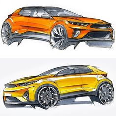 Early design sketches of the #Kia Stonic penned at the European design studio in a Frankfurt.