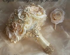 Rose Gold Brooch Bouquet Custom Pink and by Elegantweddingdecor