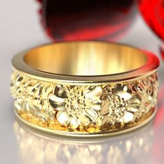 Rose Bouquet Ring Floral Ring Rose Wedding Band by CelticEternity