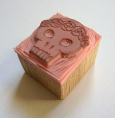 stamp Skull by ZolineArt on Etsy Cellos, Skulls And Roses, Stamp Making, Linocut Prints, Crowns, Printmaking, Wood Projects, Hand Stamped, Stencil