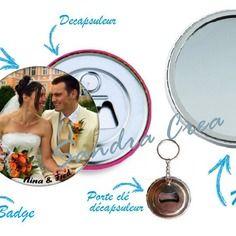 Personnalisé, miroir, décapsuleur, badge, porte clé au choix