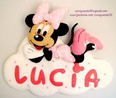 Minnie Mouse on a cloud name banner Adorno para puerta de Minnie Mouse Coco & Canela www.facebook.com/cocoycanela10