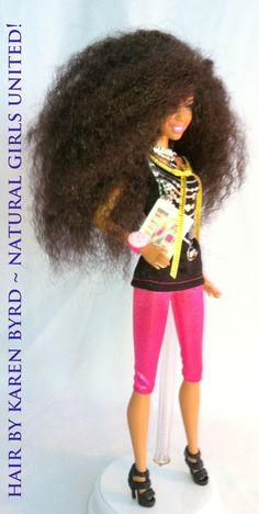 Designer doll with Kinky wavy hair.  Natural Girls United!  http://www.naturalgirlsunited.com/natural-hair-dolls.html