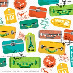 Novelty luggage print by Lesley Todd. Retro luggage tags and labels and suitcases, take me away. Anywhere. Sometime. Please. :)