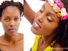 #BeforeAndAfter Soft Golden Eyes and Brown Nude Lips  #GlamByMIxKrysbel #Photoshoot #WeAreBYE  #Photo  by @KingdomPhotography257 #Model @Ange_Divine_Niyomwungere  #Accessories @Krysbel #Makeup @GlamByMI by glambymi