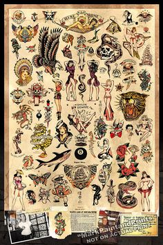 "Sailor Jerry Tattoo Flash - Poster Print 24""x36"" - Free Shipping in U.S."
