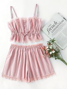 Shop Contrast Lace Cami With Shorts Pajama Set online. SheIn offers Contrast Lace Cami With Shorts Pajama Set amp; more to fit your fashionable needs. Lingerie Sleepwear, Lingerie Set, Nightwear, Look Fashion, Fashion Outfits, Steampunk Fashion, Gothic Fashion, Fashion Women, Winter Fashion