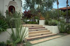 terraced Spanish Colonial Revival house & garden