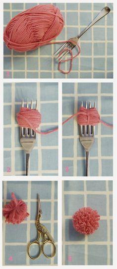 DIY: How To Make Tiny Pom Poms With A Fork!