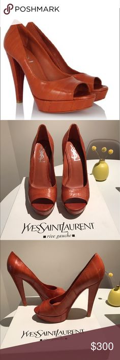 Yves Saint Laurent - Carolina Pumps Beautiful YSL pumps in excellent condition! Only worn once. Color is Anguilla, which is a deep cognac, burnt orange color. The heel is about 5 inches tall. Comes with the box and extra pair of heel tips. Yves Saint Laurent Shoes Heels