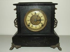 "Antique Working GILBERT ""Tuxedo"" Victorian Ebony Wood Mantel Shelf Clock c.1900 #GothicVictorianAmericana"